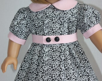 Black and white dress with pink trim, American Girl dress, Fits 18 inch doll