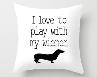 Throw Pillow Cover Wiener Dog Home Decor Case Bedroom Couch Sofa Livingroom Dog Lover Pet Animal Daschund Doxie Black Humor