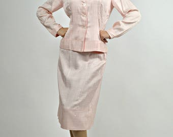 1940s Pink Suit, 1940s Suit, 40s Suit Women, Retro Suit, Bridesmaid Suit, Size Small, Wedding Guest Suit, Rockabilly Suit, Church Suit,