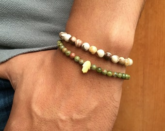 Gold-plated man Pearl 4mm unakite hand of Fatima bracelet / bracelet unakite beads fatma hand gold plated men good luck / lesptitskdo