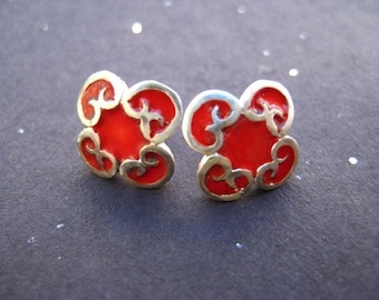 Sterling Silver Clover Studs with Red Enamel