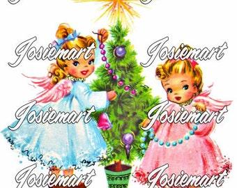 Vintage Digital Download Christmas Angel Tree Vintage Image Collage Large JPG and PNG