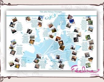 Table plan custom travel map, destination