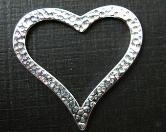 Sterling Silver Heart Charm or Connector, 925 Sterling Silver Hammered Heart Charm- Large Heart Pendant- 27 by 29mm (1 pcs)  - SKU: 201212