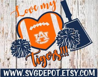 Love dem tigers svg file, football svg, tail gating svg, cut file, cameo svg, cameo dxf, silhouette studio file, cricut design space svg