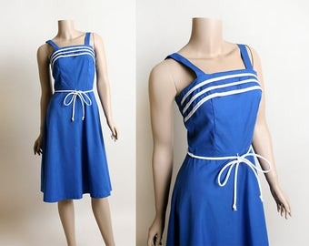 Vintage 1970s Dress - Sailor Dress - Nautical Style Royal Blue Cotton Linen with White Stripes and Rope Belt - Toni - Small