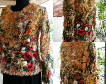 Handmade Pullover/Bohemian Bullover,Blouse/Unique design /Crazy Colors Yarns-ONLY to Order with your measures