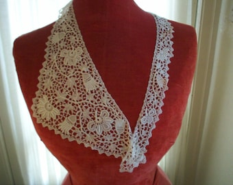 1920s antique fine lace collar of irish crochet look