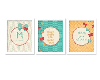 Nursery Wall Art Custom Poster Set Triptych Little Girl Nursery Wall Art Print Baby Nursery Little Girl Bedroom Wall Art Custom Teal Orange
