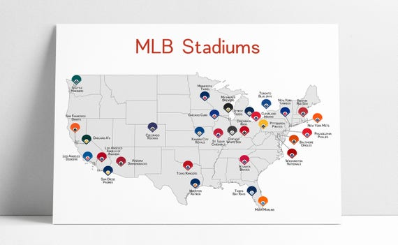 Baseball Map Baseball Stadiums Map MLB Stadium Print