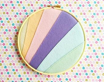 Pastel rainbow enamel pin holder // hand stitched felt embroidery hoop // wool felt // rainbow embroidery hoop