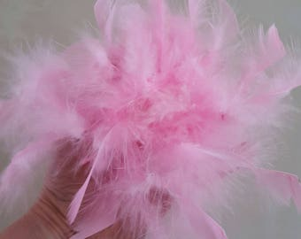 set of 2 tassels made of ostrich feathers pink 20 cm