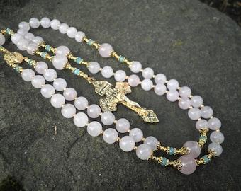 Classic Rosary - Rose Quartz and Aquamarine