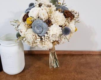 Wedding Bouquet, Sola  Bouquet, Woodland Dried Bouquet, Bride Bouquet, Sola flowers, Alternative Bouquet, Rustic bouquet, dried bouquet