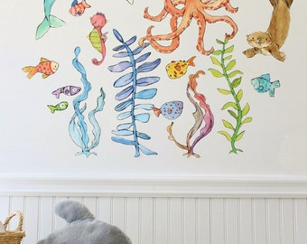 Ocean art, sea animals, Briny Buddies set B, wall decal, Kit Chase artwork, reusable