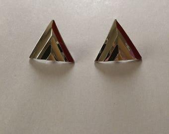 triangle stud earrings || geometric inlay multicolored studs || minimalist triangle studs