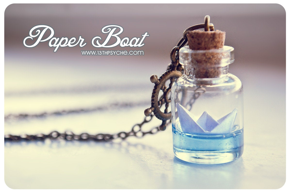 Inspirational gift for women paper boat bottle necklaceocean zoom mozeypictures Choice Image