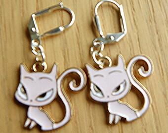 Adorable Cat Earrings cat earrings feline earrings dangle earrings drop earrings enamle charm earrings sassy cat earrings