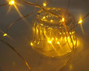 Fairy lights, LED String 7 feet long lights battery powered yellow micro led 2.2M