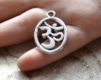 20 pcs of  OM Charms Antique Silver Tone ,yoga Charm pendant beads findings