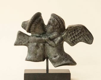 Cupid and Psyche Kissing Greek Metal Sculpture, Eros and Soul Embrace, Ancient Greece Statue, Museum Replica, Home Decor, Greek Myths