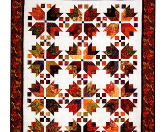 """HARVEST - By: Cozy Quilt Designs  Strip Club Pattern for 2-1/2"""" Strips - Fall, Leaves,Bear Paw"""