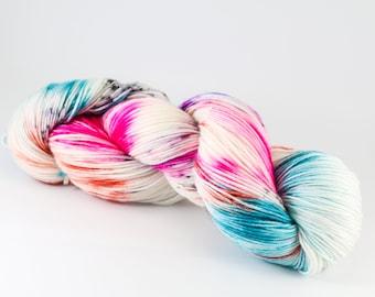 Hand Dyed Yarn - BEST BEACH EVER - 80/20 Australian Merino/Nylon Sock Yarn