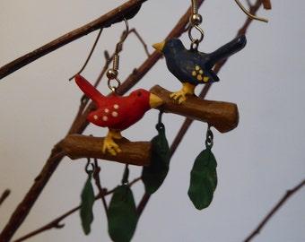 Birds of a Feather ~ OOAK Folk Art Earrings