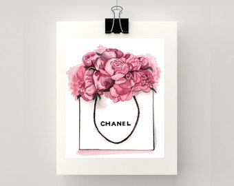 Chanel and pink peonies print of original watercolour