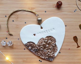 Gold prosecco, prosecco heart, gold heart, birthday, porcelain heart, decoration, hanging heart, porcelain decoration, mother's day gift