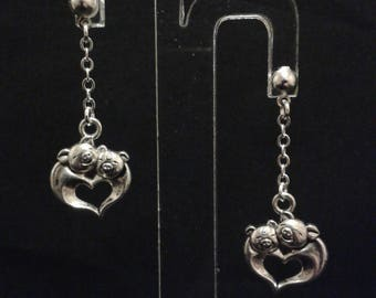 Pig with chains - silver - 4 cm heart earrings