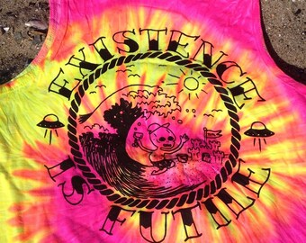 BEACH BUMMER alien nihilism TANK fluorescent pink and yellow tie dye