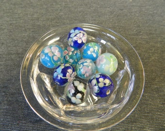 Set of 9 Blue Tone Floral Round Lampwork Glass Beads - 15mm - Cobalt, Aqua, Turquoise - Pink, Blue & Green Flowers