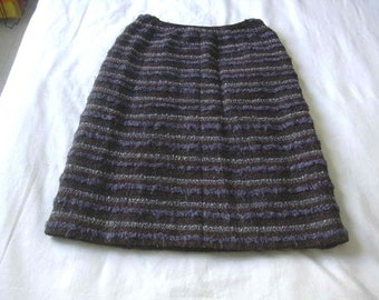 Chanel Couture Wool Blend Striped Skirt 1960s UK 10 US 6
