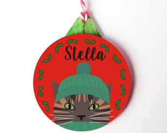 Personalised Cat Christmas Decoration-Tortoiseshell Cat Christmas Tree Ornament- 6 colours