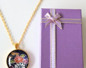 Pendant Necklace with Vintage Japanese Gold Color Kimono Fabric With Gift BOX HANDMADE 86