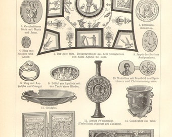 1903 Christian Art and Relics Vintage Engraving Print
