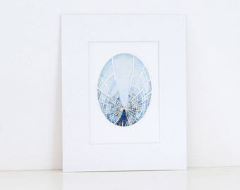 Brooklyn Bridge. Caught in a web - Small Print of my oval collage, painting. New York City, Manhattan,Wall Art, Ready to hang