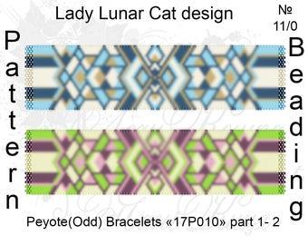 Peyote bracelet pattern, Peyote stitch, Geometric peyote, Jewelry pattern, Summer peyote, Autumn peyote, Beading pattern, Seed beads pattern