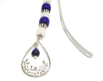Bookmark silver gem drop blue beads