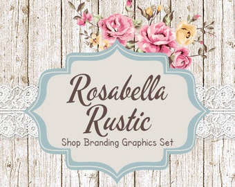 Shabby Chic Shop Branding Banners, Avatar Icons, Business Card, Logo Label + More - 12 Premade Graphics Files - ROSABELLA RUSTIC