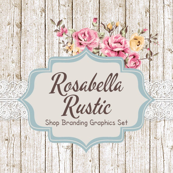 shabby chic shop branding banners avatar icons business. Black Bedroom Furniture Sets. Home Design Ideas