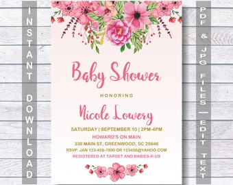 Floral Baby Shower Invitation, Baby Shower Invitation, Rustic Baby Shower Invitation, Instant Download, Printable, Watercolor Floral