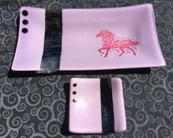 Fused glass serving set with copper horse