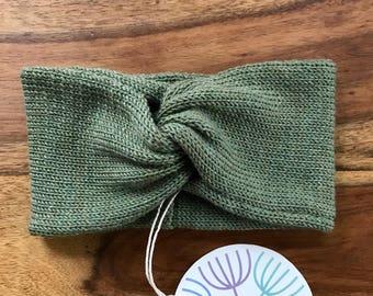 Handmade Headband Soft Merino Wool olive