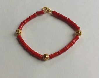 Gold and Red Beaded Bracelet