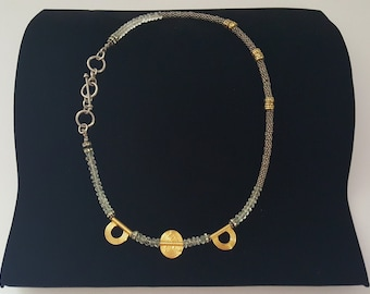 Necklace of Gold Vermeil Beads With Bali Beads and Rondelles.