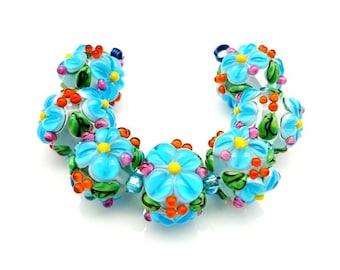 Destash - Blue Floral Lampwork Beads, Lampwork Glass Beads, SRA Lampwork Beads, Lampwork Beads, Lampwork Bead Set, Lampwork Pairs