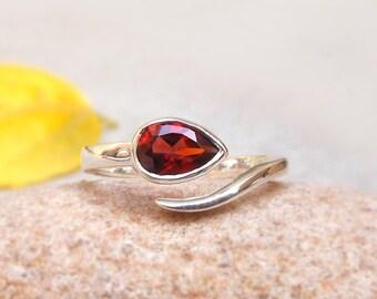 Garnet Stacking Ring Garnet Ring Personalized Gemstone Ring Natural Gemstone January Birthstone sterling silver ring Promise Ring sz 4 -12