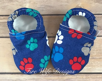 Paw Prints Soft Sole Baby Shoes, Crib Shoes, Baby Slippers, Baby Booties, Baby Mocs, Vegan Baby Shoes